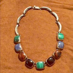 Multi-stone sterling silver necklace